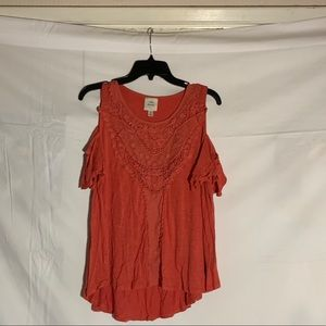Orange Knox rose cold shoulder blouse